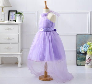 Purple Flower Halter Mesh Dress for Girl