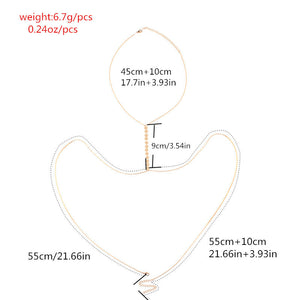 Female Long Crystal Sexy Body Jewerly Charm Exaggerated Party Statement Necklace Women Body Jewelry