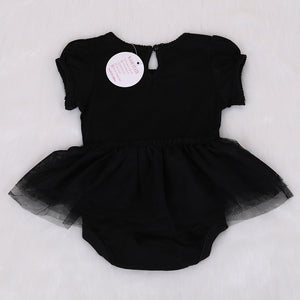 Baby Girls Black Romper Bow Detailed Bubble Skirt