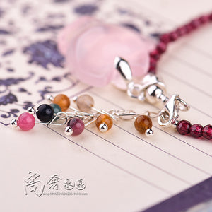 Natural Garnet Cartoon Animal Pendant Anklet