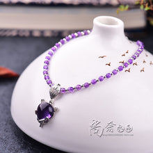 Natural Purple Crystal Fox Shape Pendant Ankle Bangle