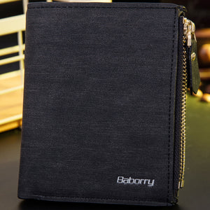 Black Brown Bifold Wallet Mens Leather Card Holder