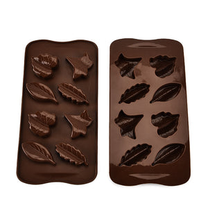 8 Hole Leaves Chocolate Mold Silicone Cake Mold Dessert Baking Tools