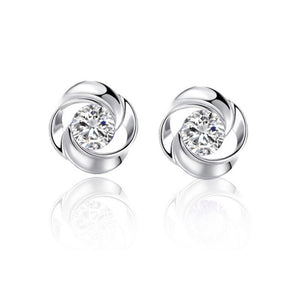 Rose Shape Silver Earrings with Zircon Details (1 pair)