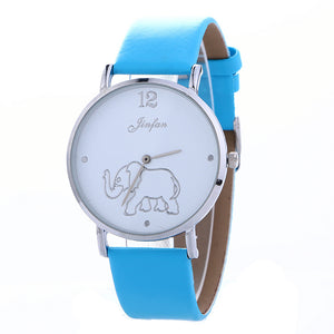 Casual Ultra-Thin Leather Belt Elephant Pattern Female Watch