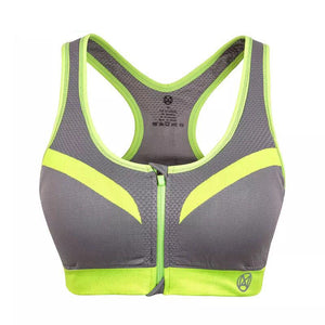Professional Shockproof Women Zipper Sports Bra Push Up Top Underwear With Inner Pad Running Gym Fitness Jogging Tanktop