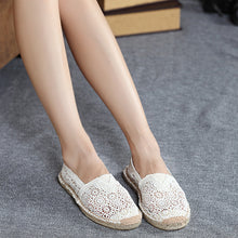 Female Casual Small Whites Hollow Linen Fisherman Shoes