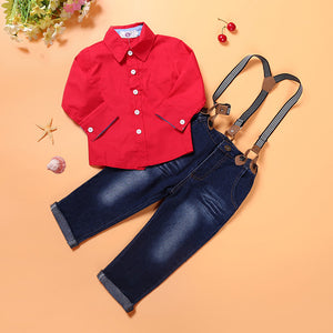 Kids Boys Spring and Autumn Red Long Shirt and Jean Suspender Pant