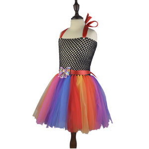 Rainbow Colors Fluffy Halter Dress Bowtie Detail Flower Girl Dress Lace