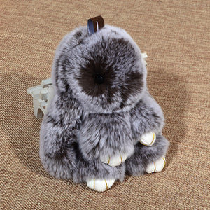 18cm Off Color Fur Fluffy Bunny Keychain Bag Charms