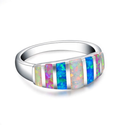 Platinum Plated Rainbow Colorful Opals Rings