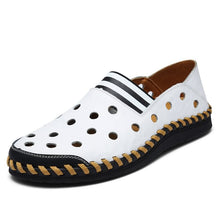 Casual Men Leather Hollow Hole Breathable Men Shoes