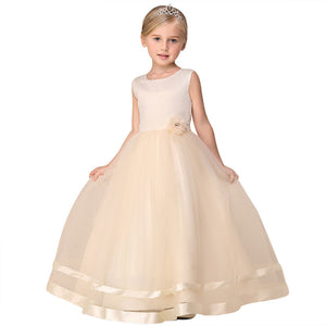 Princess Wedding Dress Princess Dress Children Solid Color Flower Dress Skirt Ball Gown