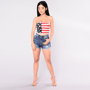 Women's Sexy American National Flag Print Stripes Pattern Wrapped Chest
