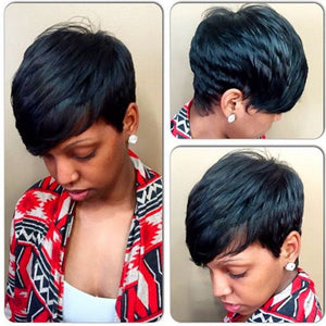 Black Short Women Wig Straight Wigs Heat Resistant Wigs with Bangs for Women Natural Hair Wig