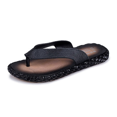 Summer Leather Slippers Men Beach Slippers Flip Flops Fashion Slippers (1 pair)