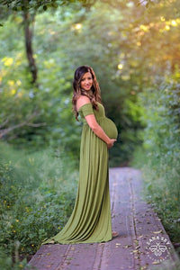 Womens Off Shoulder Solid Color Maxi Maternity Dress
