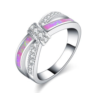 Platinum Color Opals Ring Crown Shaped Rings for Women