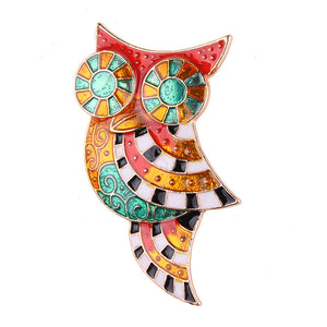 Colorful Modern Owl Design Brooch