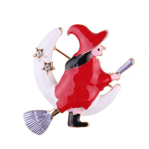 Red Witch Over the Moon Design Brooch