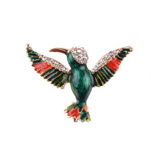 Rhinestone Detailed Green Bird Design Brooches