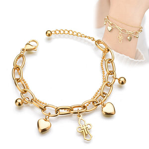 Fashion Adjustable Crystal Double Heart Bow Bilezik Cuff Opening Bracelet Women Jewelry Gift Mujer Pulseras