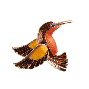 Orange Little Bird Design Women Brooch