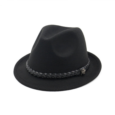 Women Braided Leather Fedora Hat Winter and Autumn Fashion Dress