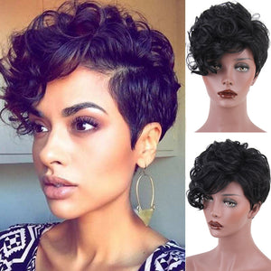 Wig Female Short Hair Black Short Fiber Curly Hair