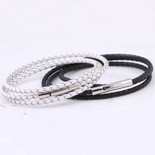Braided Leather Band with Metal Buckle Bracelet for Women