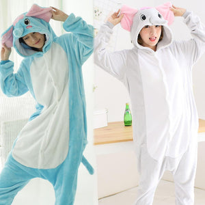 Flannel Pajamas Cartoon Animal Jumpsuits Blue Elephant Costume for Women
