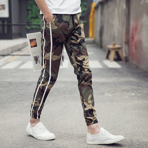 Long Slimline Joggers Trousers Camouflage Pattern Pants for Men