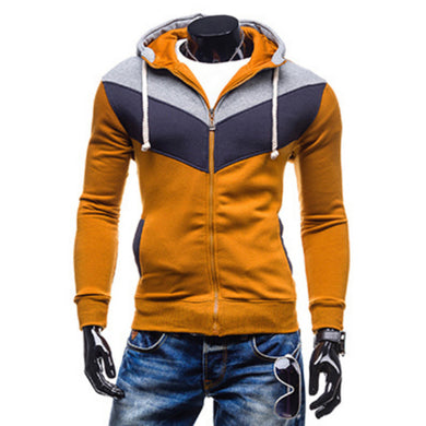 Color Block Zip Through Hoodies for Men