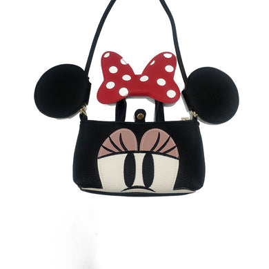 Female Cute Mickey Mouse Minnie Shoulder Bag Bow Details Bag