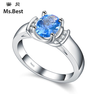 Silver Rings Artificial Sapphire Gemstone Engagement Rings for Women