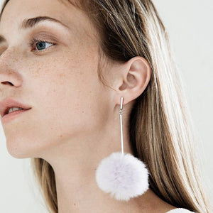 Fluffy Pompon Ball Pendant Drop and Dangle Earrings