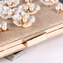 Sequined Pearl Flower Square Clutch Wedding Handbag