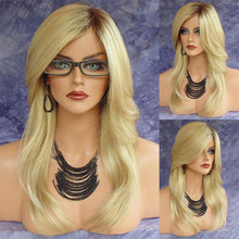 Wig Style Headdress Fashion Golden Side Long Hair High Temperature Wire Micro Curls