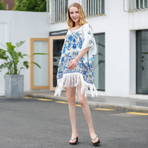 Bikini Tassel Hems Pattern Printed Chiffon Dress