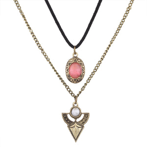Sweet girl jewelry retro Multi Crystal Gem Flower Necklace