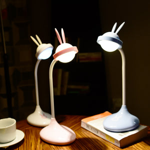USB Charging Cute Rabbit Night Lights LED Dimming Novelty Rechargeable LEDs Desk Table Lamp For Reading Study Children Sleeping
