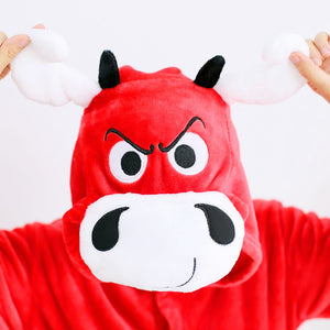 Flannel Red Cow Bull One Piece Cartoon Design Home Wearing Pajama Costumes