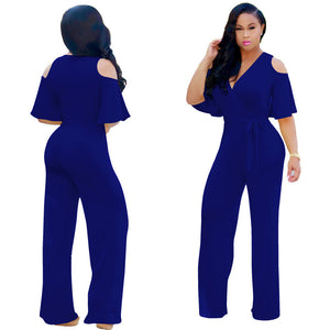 Half Sleeves  Cold Shoulder Tunics Long Jumpsuits for Women