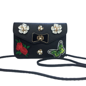 Women Floral Stitchwork Nice Embroidered Diamond Pearl Chain Leather Evening Bag
