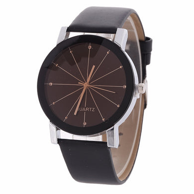 Analog Quartz Watch Lasers Pattern Plate PU Leather Band Watch for Men