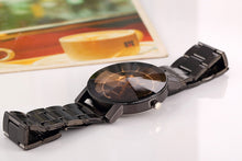 Rudder Plate Black Alloy Band Wrist Watch for Men
