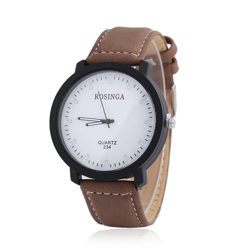 Analog Quartz Round Plate Faux Cowhide Band Wrist Watch for Men