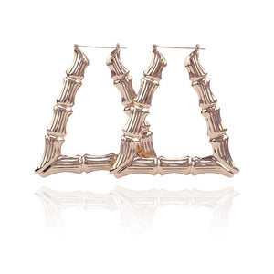 Hiphop Big Large Bamboo Hoop Earring For Women Rose Gold Triangle Drop Statement Earring Party Jewelry Gifts