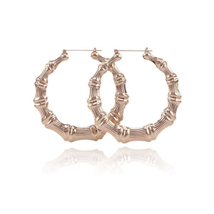 Fashion 100mm Gold Big Large Bamboo Hoop Earring Round Circle Earring For Women Brincos Jewelry