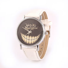 Novel Grin Face Plate PU Leather Band Watch for Men